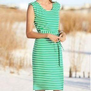 Talbots green roll tab shoulder dress euc